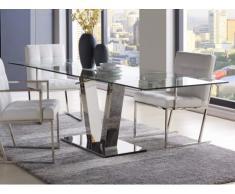 Tavolo da pranzo allungabile VERSILIA - Vetro temperato & metallo - da 6 a 8 coperti