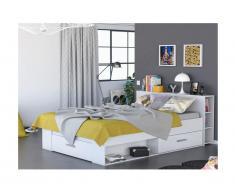 Letto matrimoniale alla francese con scomparti 140 x 190 cm Bianco - LEONIS