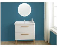 Set mobili bagno VATINE: mobile sotto lavabo + lavabo + specchio laccato Bianco