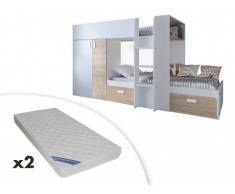 Letto a castello JULIEN - 2x90x190 cm - Armadio integrato - Bianco e quercia + 2 materassi ZEUS 90x190