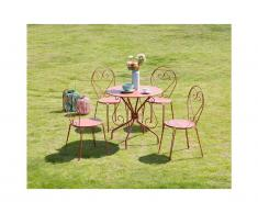 Sala da pranzo da giardino GUERMANTES in metallo effetto ferro battuto: un tavolo e 4 sedie colore terracotta