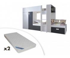 Letto a castello JULIEN - 2x90x190 cm - Armadio integrato - Abete bianco e nero + 2 materassi ZEUS 90x190