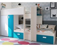 Letto a castello JULIEN - 2x90x190 cm - Armadio integrato - Pino bianco e blu