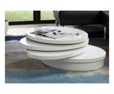 Tavolino girevole ovale - MDF laccato Bianco - CIRCUS