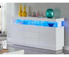 Credenza FABIO - MDF laccato bianco LED -3 cassetti 2 porte