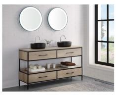 Set bagno PLUNA: mobile sotto lavabo + doppio lavabo + specchio effetto legno
