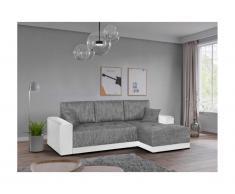 [NEW VERSION] Divano letto angolare in tessuto e in similpelle Bicolore bianco e grigio melange - Angolo a destra - JARED