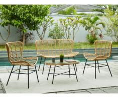 Solotto da giardino NICOYA in resina intrecciata: divano 2 posti, 2 poltrone e tavolino
