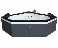 Vasca idromassaggio angolare SANTORINO - 2 posti - 350 L - 160 x 60 x H 60 cm - Colore grigio