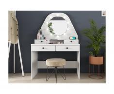 Toeletta - Specchio con LED e vani portaoggetti - Bianco - GABRIELA