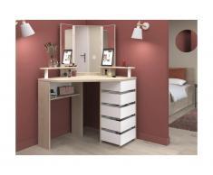 Toeletta MARILYN - Specchio e scomparti portaoggetti - Bianco e quercia