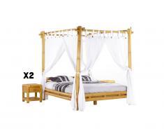 Pacchetto camera MALINDI - Letto a baldacchino 160 x 200 cm + 2 comodini - Bambù