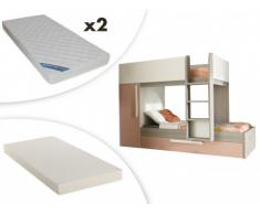 Letto a castello con cassettone letto estraibile e armadio integrato 3x90x190 cm in Abete rosa e bianco - ANTONIO + 3 materassi compresi