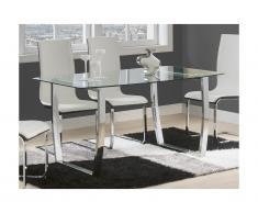 Tavolo da pranzo 6 posti in vetro temperato e Metallo cromato - IMELDA