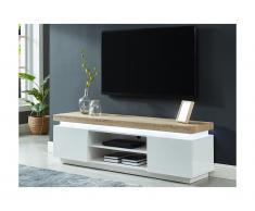 Mobile TV con LED 2 ante in MDF laccato Bianco e quercia - HALO