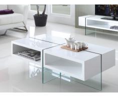 Tavolino BROOKE - MDF laccato e vetro temperato - Bianco