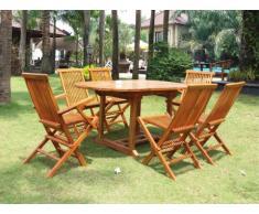 Set da giardino AKUDA Teak - Tavolo + 2 poltrone + 4 sedie