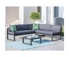 Salotto da giardino Antracite : Tavolino e divano angolare con schienale reclinabile 6 posti - PALAOS