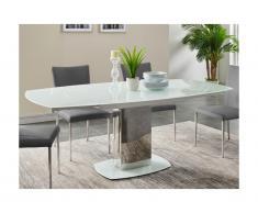 Tavolo da pranzo allungabile TALICIA - Vetro temperato & metallo - da 6 a 8 coperti - Bianco