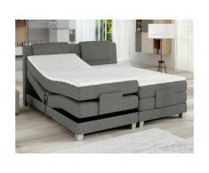 Set letto boxspring testata + reti relax elettriche + materasso + topper CASTEL di PALACIO - 2 x 90 x 200 cm - Tessuto grigio chiaro