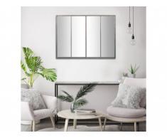 Specchio finestra atelier stile industriale DURHAM - 4 fasce - Metallo - 90x120 cm - Colore grigio zinco