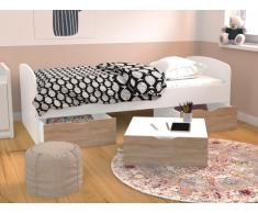 Letto con 2 cassetti e 1 vano portaoggetti 90 x 190 cm Bianco e Rovere - LOUANE