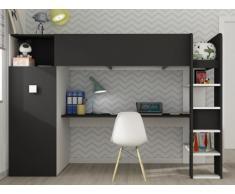 Letto a soppalco TOBIE - Armadio e scrivania integrata - 90x200 cm - Bianco e antracite