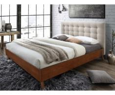Letto matrimoniale 160 x 200 cm in Tessuto beige e legno - FRANCESCO