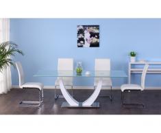 Tavolo da pranzo 8 posti in MDF e in vetro temperato Bianco - MEZZO
