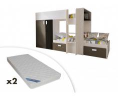 Letto a castello JULIEN - 2x90x190 cm - Armadio integrato - Abete bianco e marrone + 2 materassi ZEUS 90x190