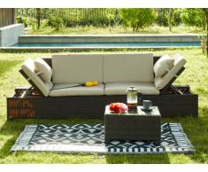 Divano modulare e tavolino da giardino GANDOCA in resina intrecciata marrone - Seduta crema