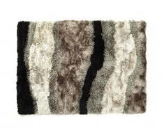 Tappeto shaggy ECUME - poliestere taftato a mano - Taupe, bianco e nero - 200x290 cm