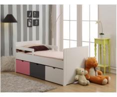 Letto singolo con 3 cassetti 90 x 190 cm in MDF bianco, grigio, rosa - PILOU