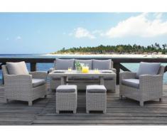Salotto da giardino OLINDA resina beige chiaro: divano, 2 poltrone, 2 sgabelli, tavolo da pranzo