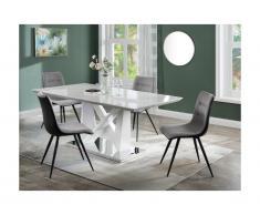 Tavolo da pranzo 6 coperti MDF e Acciaio Cromato Effetto marmo - TOLUCA