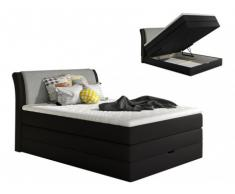 Set letto boxspring testata + base del letto con contenitore + materasso + topper GRANDIOSE di DREAMEA - tessuto - 140 x 200 cm