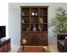 Libreria alta BALI - 3 ante e 9 vani - Teak massello