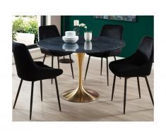 Tavolo da pranzo rotondo 4 posti in Marmo e Metallo - Nero e dorato - NORAH