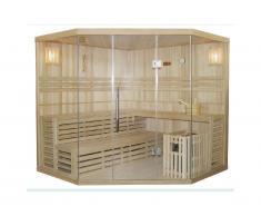 Sauna tradizionale finlandese angolare 4/5 posti vetrata Gamma prestige IMATRA
