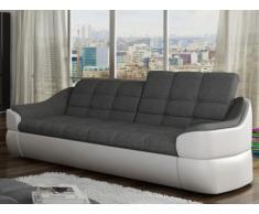 Divano 3 posti in tessuto e similpelle Bicolore grigio e bianco - FAREZ