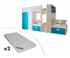 Letto a castello JULIEN - 2x90x190 cm - Armadio integrato - Taupe e blu + 2 materassi ZEUS 90x190