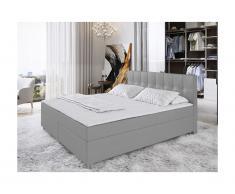 Set letto boxspring testata + reti + materasso + topper SIERO di DREAMEA - 160 x 200 cm - tessuto - grigio