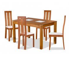 Set Tavolo SALENA + 4 sedie DOMINGO - Faggio massello - Colore quercia