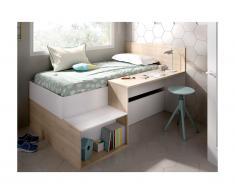 Letto con vani portaoggetti e scrivania 90 x 190 cm Bianco e Rovere - LISON