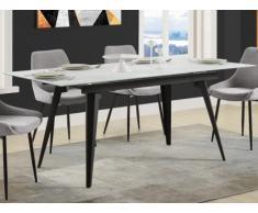 Tavolo da pranzo allungabile da 4 a 6 coperti Vetro temperato, ceramica e metallo Aspetto marmo - CELIA