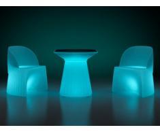 Salotto da giardino luminoso KIRUNA LED tavolo + 2 poltrone