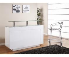 Mobile bar BRADY - MDF laccato bianco e vetro temperato - 1 cassetto