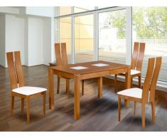 Set modulare tavolo + 4 sedie SALENA - Faggio massello - Colore quercia
