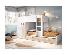 Letto a castello con armadio integrato 2 x 90 x 190 cm Bianco e Rovere - JUANITO