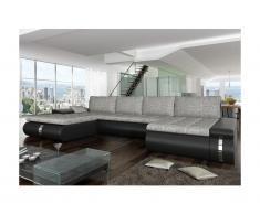 Divano letto angolare panoramico e reversibile in tessuto e similpelle AZELMA - Nero e grigio chiaro